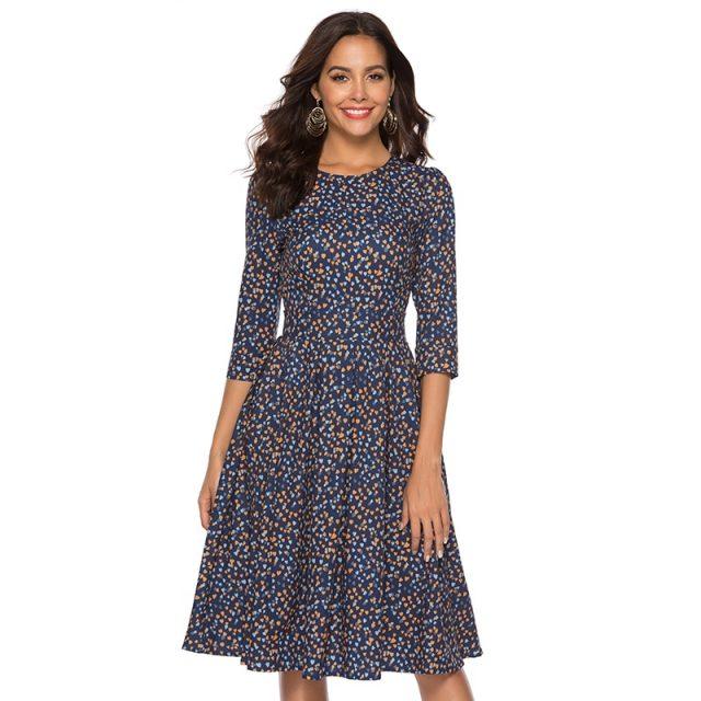 Summer Mid-Calf Length Heart Printed Women's Dress
