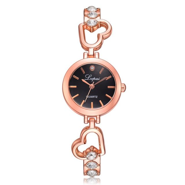 Elegant Women's Quartz Watch with Heart-Shaped Band
