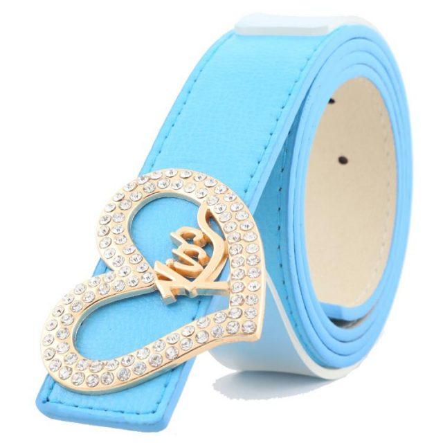 Fashion Colorful Women's Belt with Heart-Shaped Rhinestone Buckle