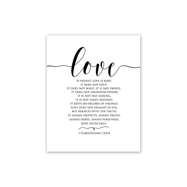 Scandinavian Style Black and White Love Theme Canvas Wall Painting