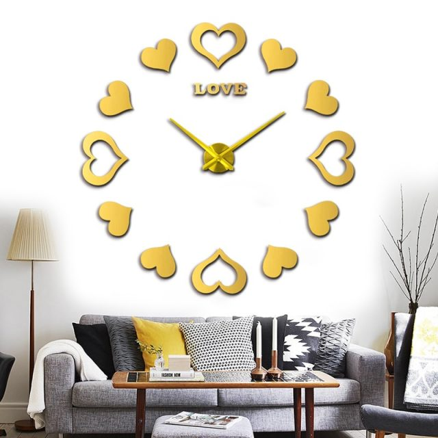 Decorative Three-Colored Heart Shaped Mirror Wall Clock