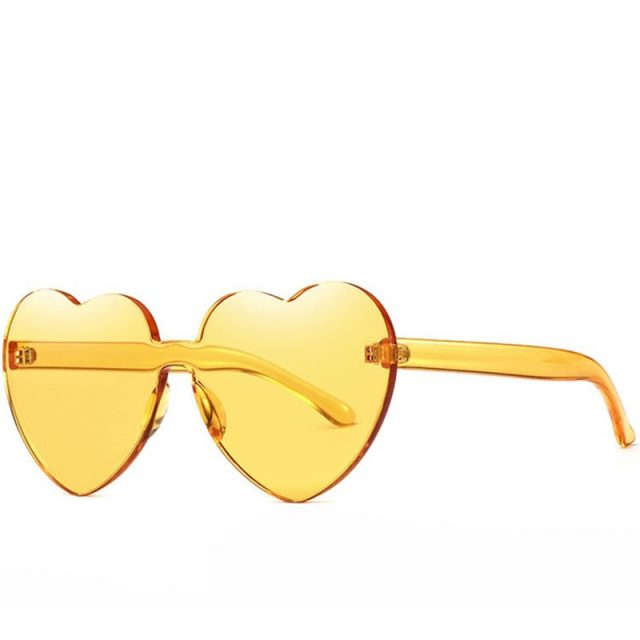 Rimless Colorful Women's Sunglasses with Heart-Shaped Lenses