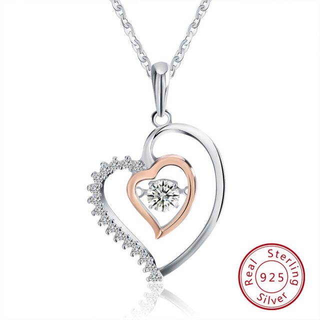 Trendy Double Heart Shaped Sterling Silver Pendant Necklace