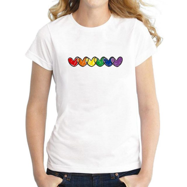 Summer Rainbow Hearts Printed Women's T-Shirt