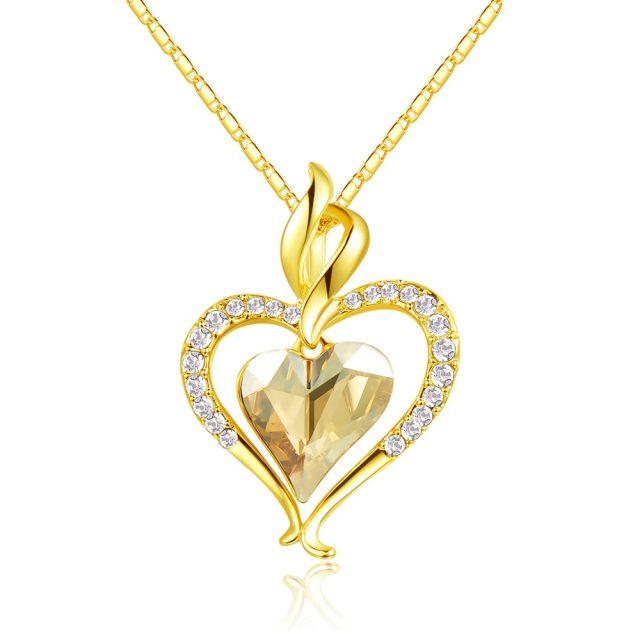 Luxury Gold Plated Heart Shaped Rhinestone Pendant Necklace