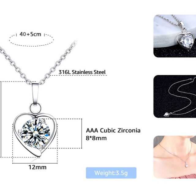 Colorful Heart Shaped Cubic Zirconia Pendant Necklace