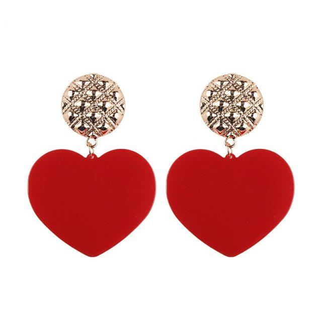 Trendy Colorful Heart Shaped Women's Drop Earrings