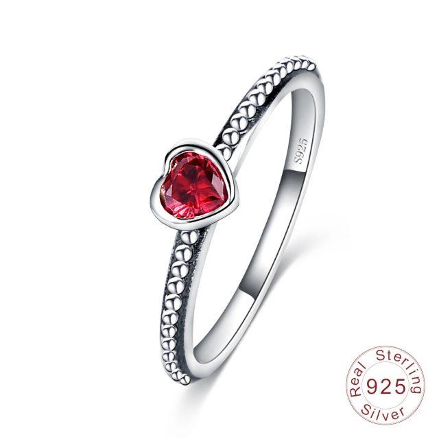 Trendy Love Heart Shaped Women's Sterling Silver Ring